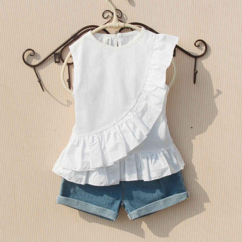 Letnie dziewczęce bluzki z krótkim rękawem biała koszula dla nastolatków 2020 bawełna O-neck czerwona koszula wzburzyć biały Top maluch dzieci ubrania