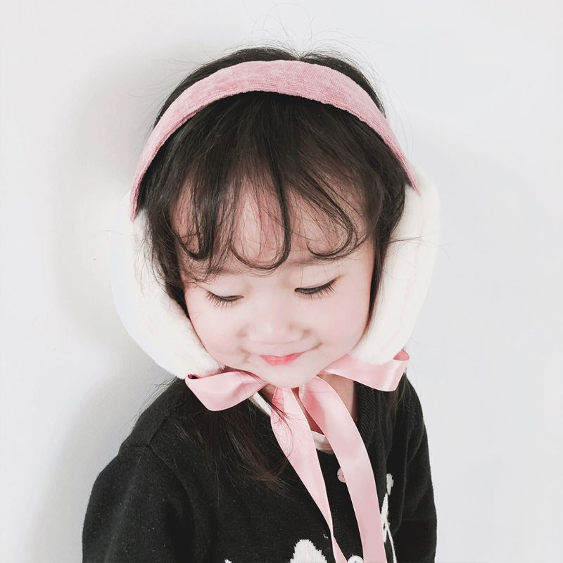 Children Girls Boys Winter Thicken Plush Earmuffs Outdoor Sweet Foldable Portable Ear Warmer Headband With Ribbon Tie 2-8T