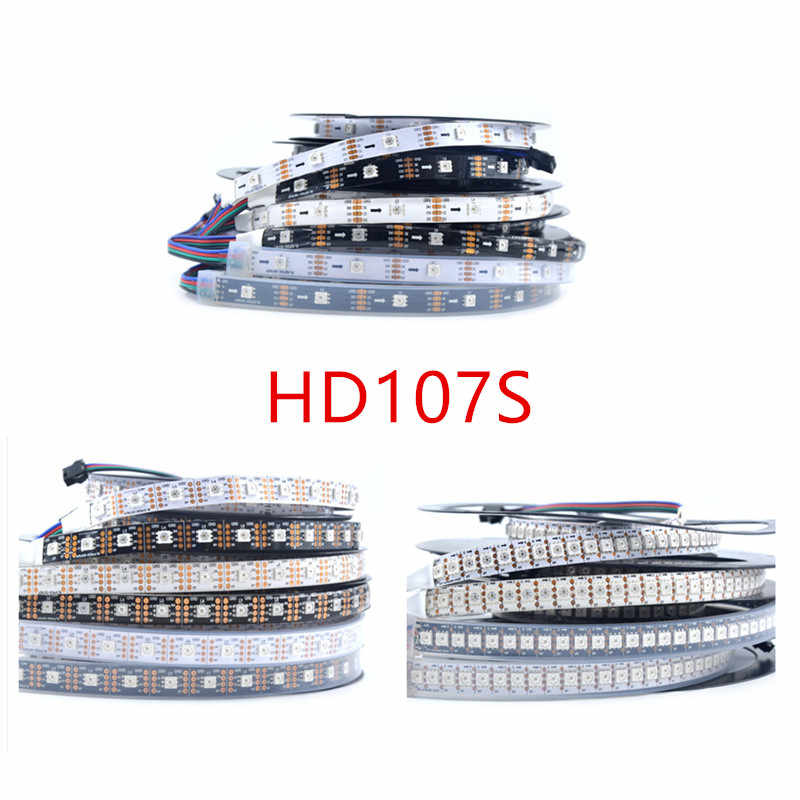 1 M/5 M APA107S HD107S LED Strip RGB Pixel Tape, DC5V 5050 SMD Addressable 30/60/144 LED/M Putih/Hitam PCB, IP20/IP65/IP67