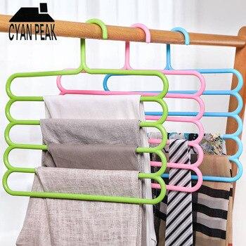 Perchas para pantalones multifuncionales de 5 capas, percha de pantalones, percha de almacenamiento, percha para ropa, ahorro de espacio, organizador de armario guardarropa