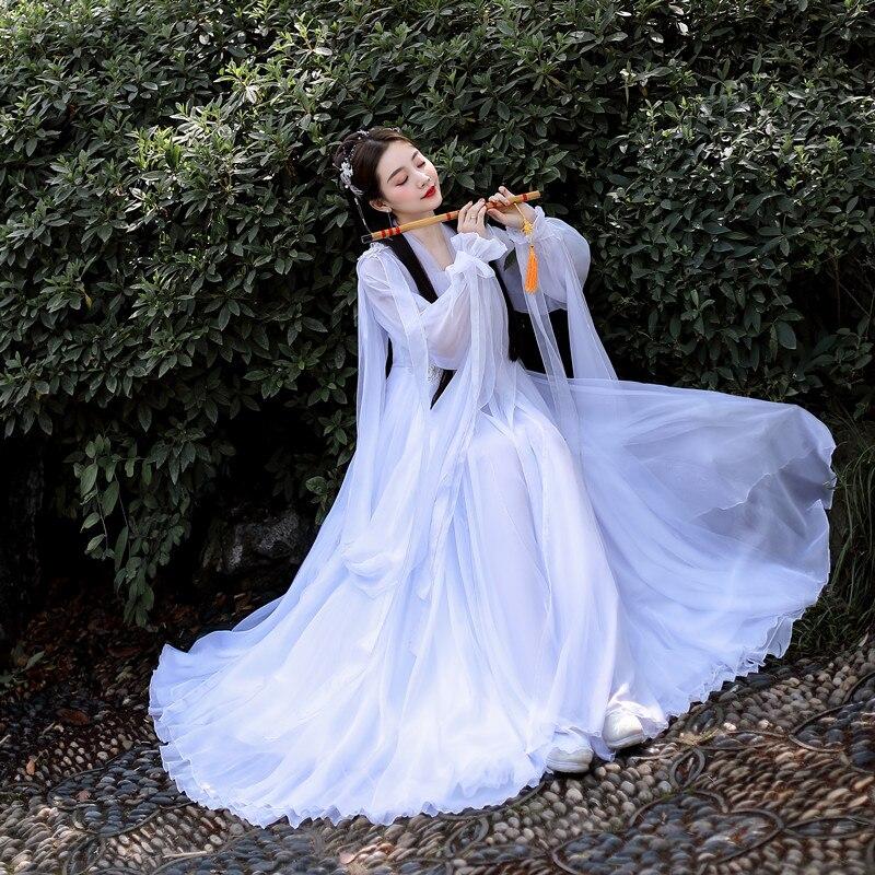 Summer Chinese Traditional Hanfu Costume Princess Dress Women Fairy Folk Dance Dress Female Dance Oriental Hanfu Costume SL4990