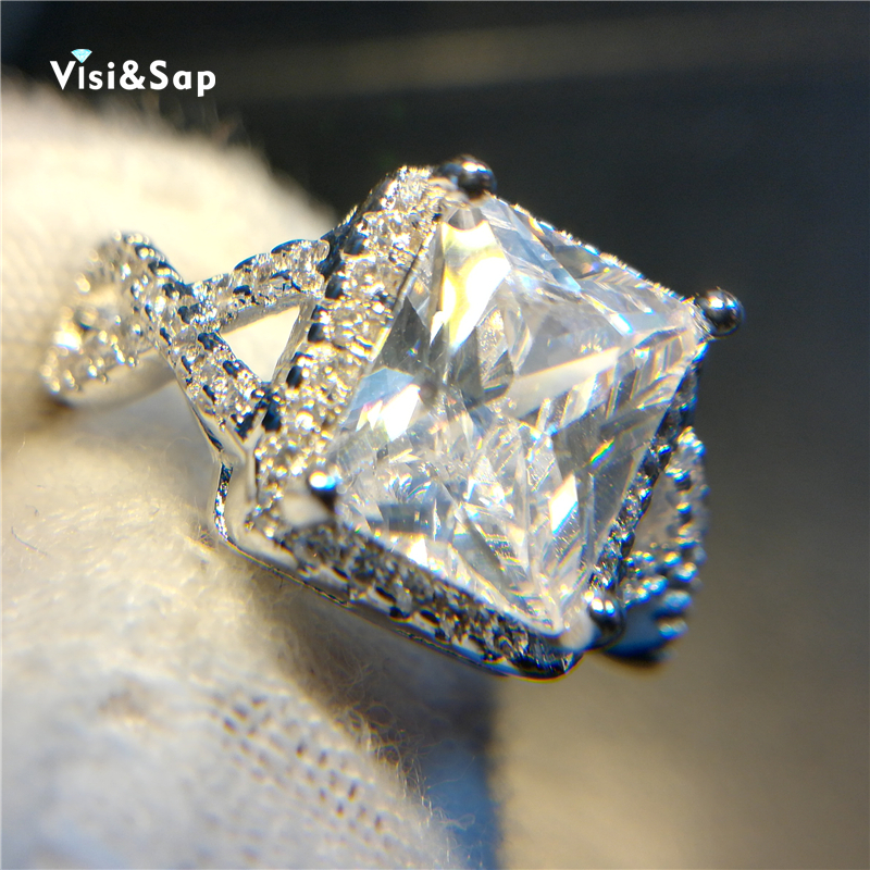 Visisap Big Square 4ct clear Stone Charming rings for women wedding bands engagement Ring luxury gifts White gold Color VSR136