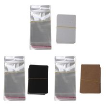 100Pcs Blank Kraft Paper Jewelry Packaging Card Tags Used For Necklace Earring Display Cards with 100Pcs Self-Seal Bags