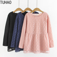 TUHAO 2019 Autumn Winter Fleece Dress Thick Large Size 4XL 3XL Women's Dresses Good Quality Female Office Lady Casual Dress LZ30