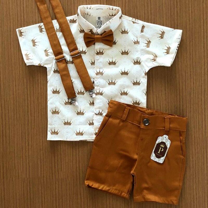 US 2PCS Toddler Kids Baby Boy Gentleman T-Shirt Tops+Pants Shorts Outfits Set