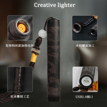 2019 Newest Wooden creative lighter Chinese style Windproof USB charging Cigarette Hot Sale