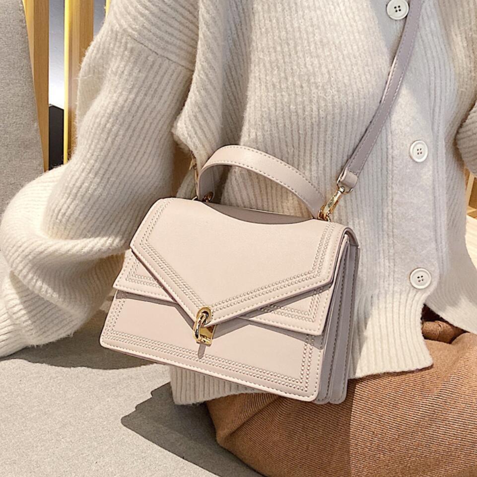 Elegant Female Solid Color Tote Bag 2020 Fashion New Quality PU Leather Women's Designer Handbag Lock Shoulder Messenger Bag