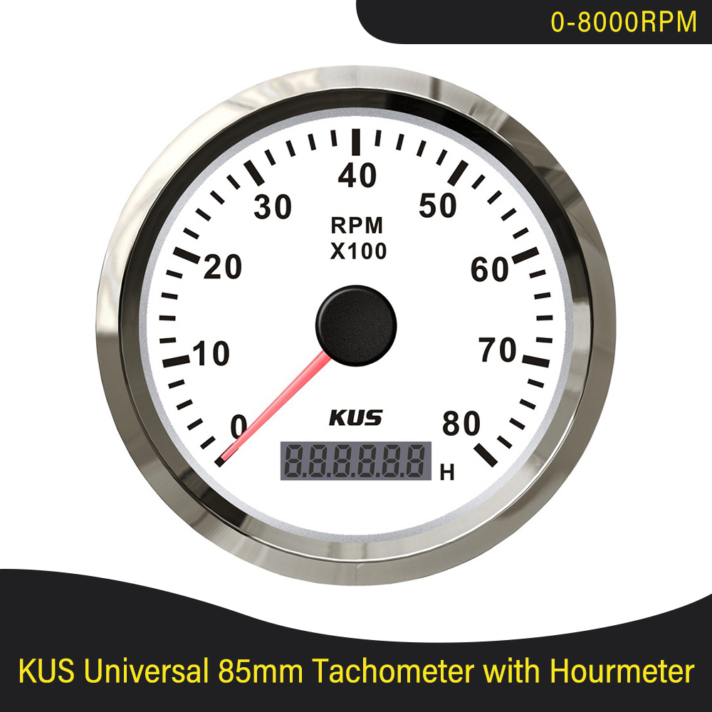KUS Marine Tachometer 8000RPM Car Truck Boat Tacho Gauge with LCD Digital Hourmeter Red and Yellow Available Backlight 12V 24V
