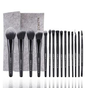 Image 2 - Бренд Zoreya , 15 шт ., черные кисти для макияжа, набор теней для век, пудра, кисть для основы, для макияжа, лучший растущий консилер , косметические инструменты