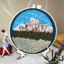 Paisagem diy padrão impresso bordado kit bordado bordado artesanal ponto cruz costura artes artesanato pintura decoração