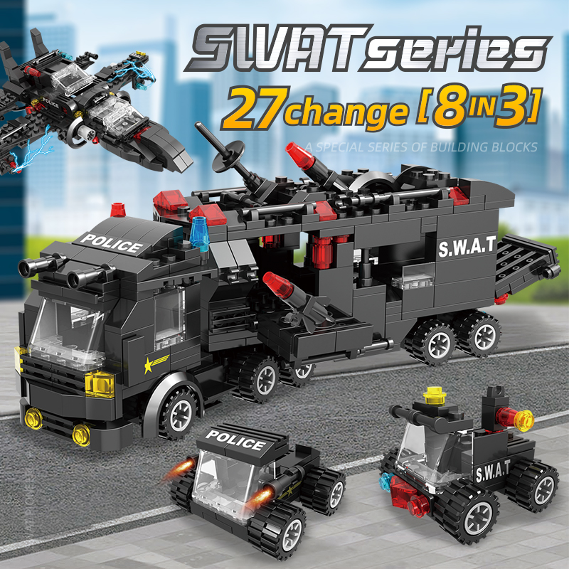 City Police Creator Building Blocks kit Helicopter Aircraft Car military figures LegoINGLY Bricks Toys for Children gifts 418pcs