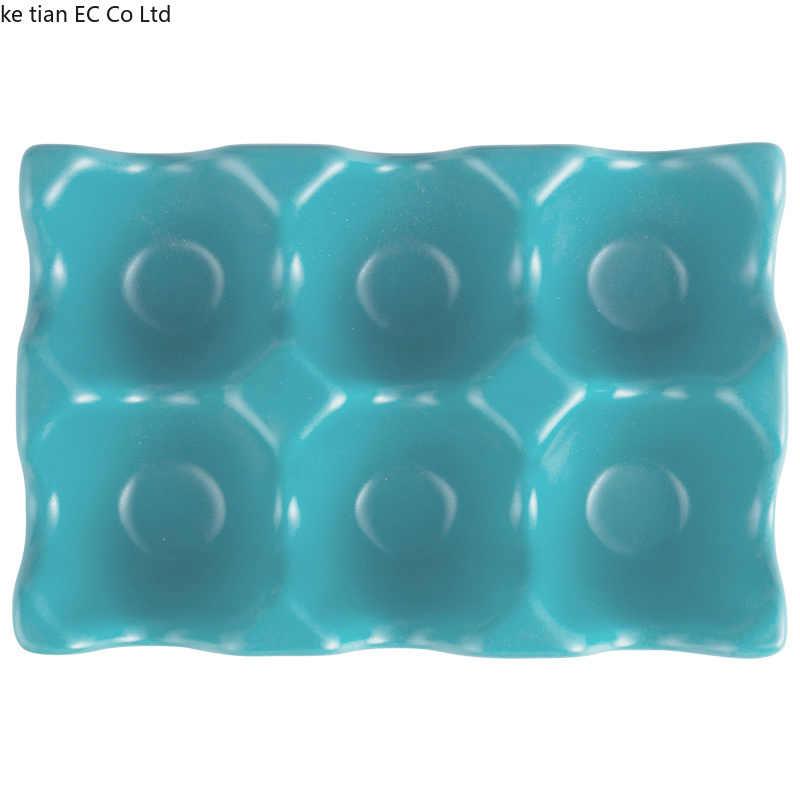 1pcs 6 กริดไข่ผู้ถือเซรามิค Anti-SLIP กล่องไข่ตู้เย็นกันกระแทกถาดไข่ผู้ถือบ้าน storage Organization