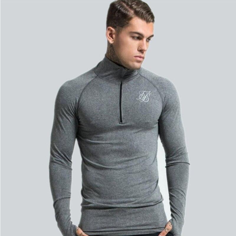 Men Siksilk Long Sleeve T-shirts Fashion Slim Tee Shirt Men Spring Hip Hop Silk Silk Clothing Undershirt Siksilk T Shirt Man