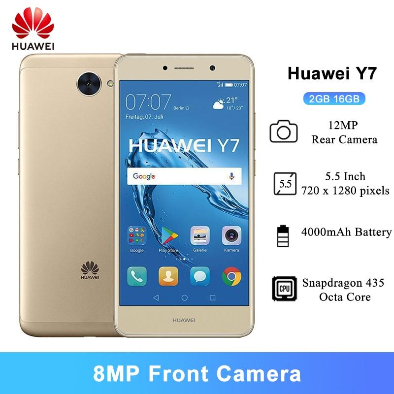 Huawei Y7 Smartphone 2GB 16GB 5.5 pouces Snapdragon 435 octa-core 12MP arrière caméra 4000mAh batterie Android 7.0 téléphone portable