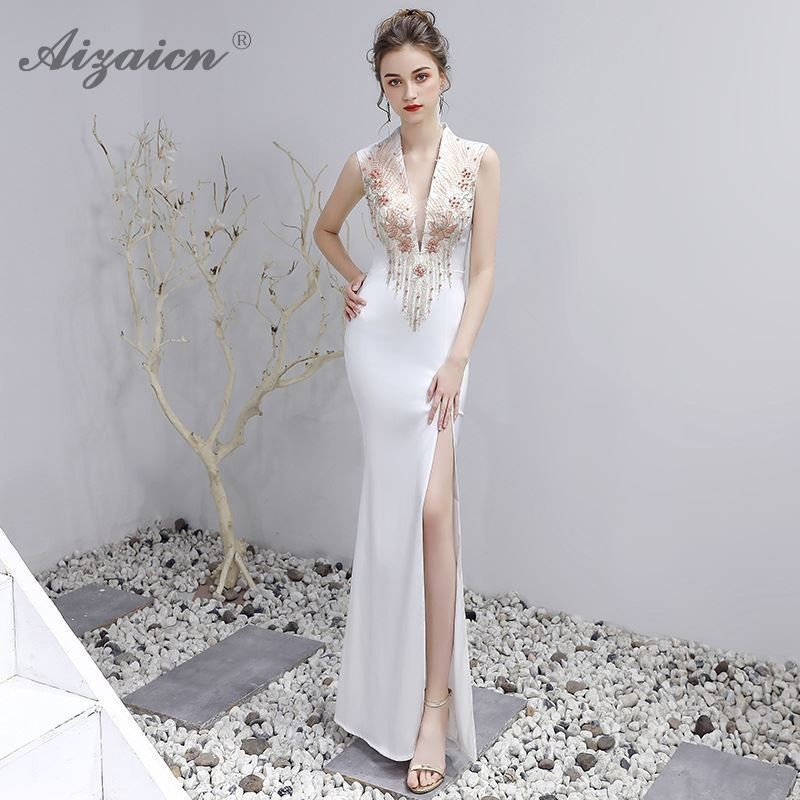 Luxury White Chinoise Party Vintage Gown Fashion V Neck Cheongsam Long Evening Dresses Qi Pao Women Chinese Traditional Dress