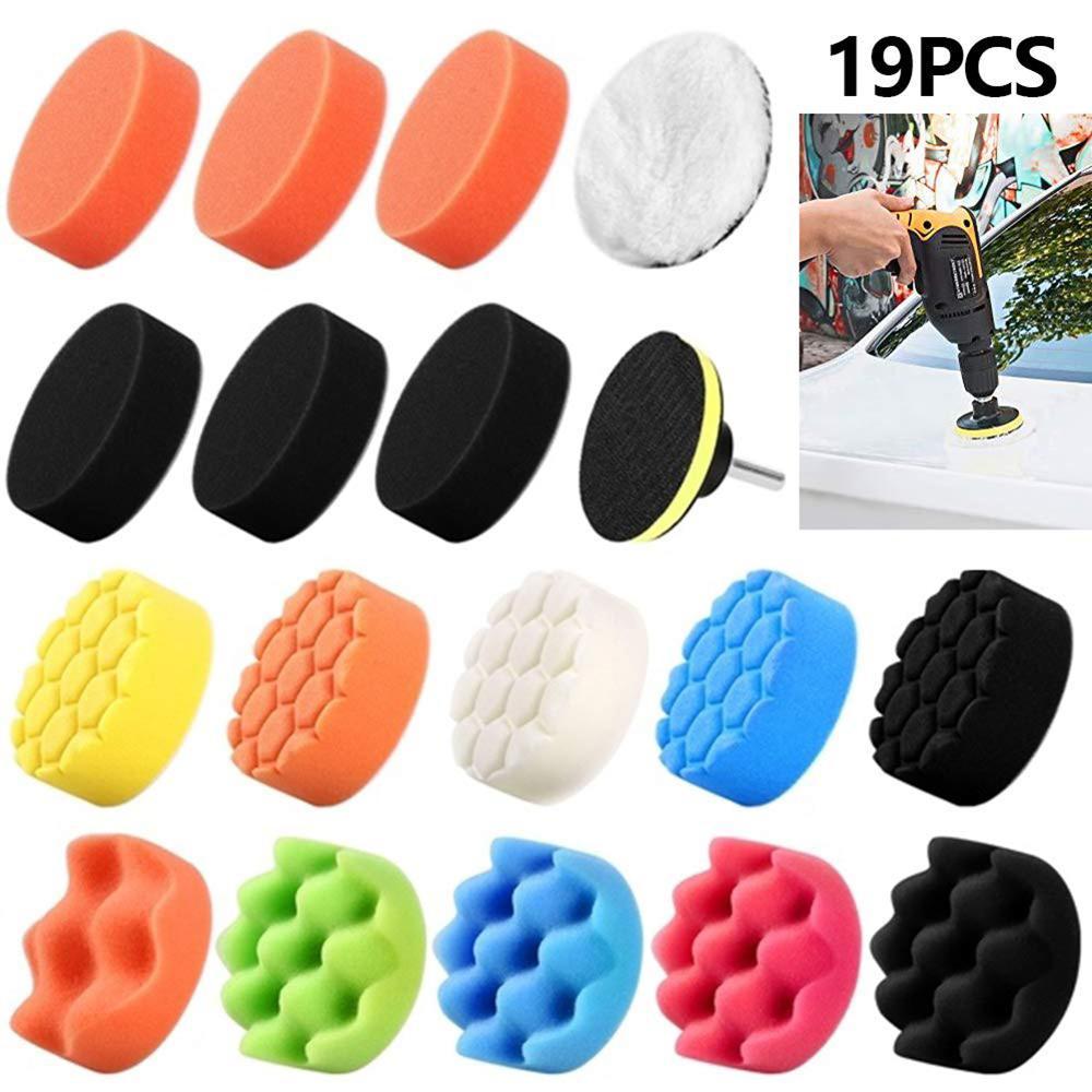 Набор шерстяных волнистых губок для полировки, 19 шт., 3 дюйма, набор полировальных подушек для автомобиля, колесо M10, адаптер для дрели, абрази...