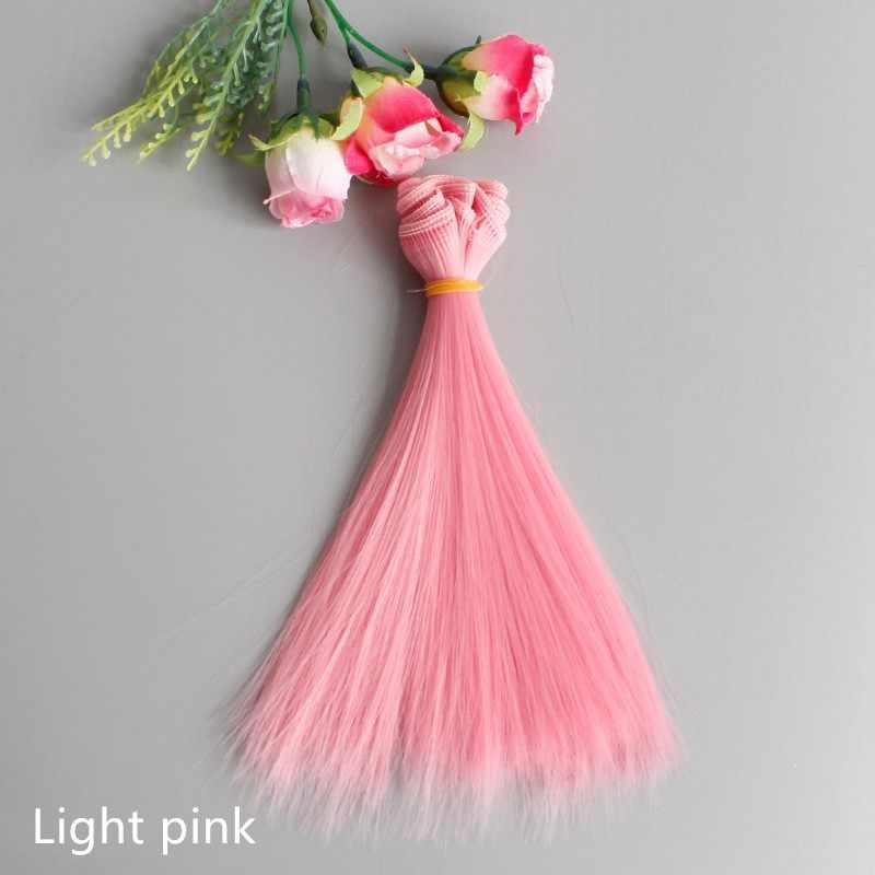 1pc 15*100cm Pop Accessoires Rechte Synthetische Vezel Zijde Pruik Haar voor Pop Pruiken Hoge temperatuur draad Multicolor Dik Haar