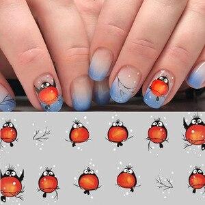 Image 5 - 손톱에 네일 스티커 손톱에 대한 만화 패턴 스티커 물 전송 스티커 데칼 매니큐어 장식 플라이 버드 네일 아트