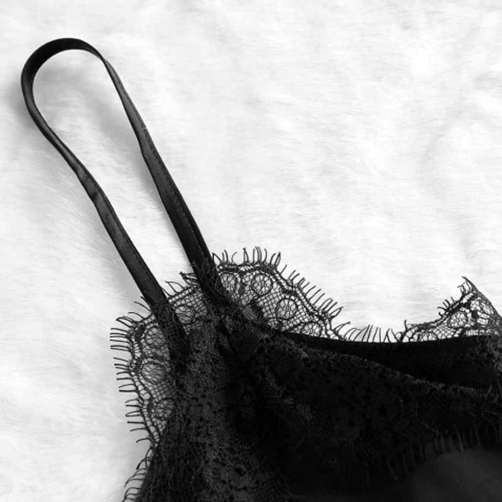 # Z5 女性のセクシーな V ネック Tシャツ調節可能なスパゲッティ背中レーストリムキャミクロップトップレースパッチワーク黒サテン tシャツ