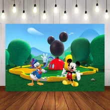 NeoBack Custom Photography background Mickey Minnie Mouse Green Clubhouse Park Photo Studio Background Backdrop Vinyl(China)