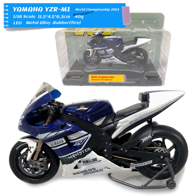>LEO 1/18 Scale Motorbike Model Toys Yamaha YZR-M1 <font><b>World</b></font> <font><b>Champion</b></font> 2013 Diecast Metal Motorcycle Model Toy For <font><b>Gift</b></font>,Collection