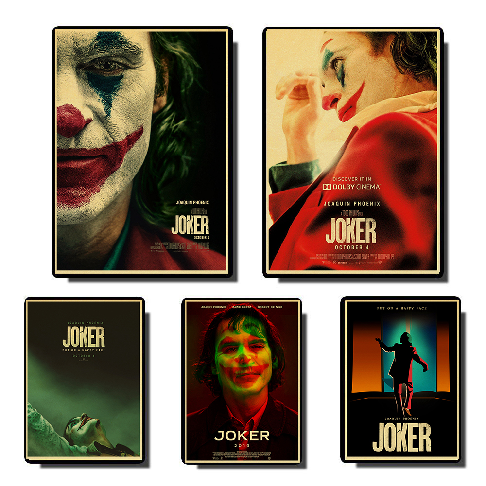 Joaquin Phoenix Joker 2019 DC Movie Comics Wall Art Painting Print On Coffee Retro Poster Pictures Halloween Home Deco