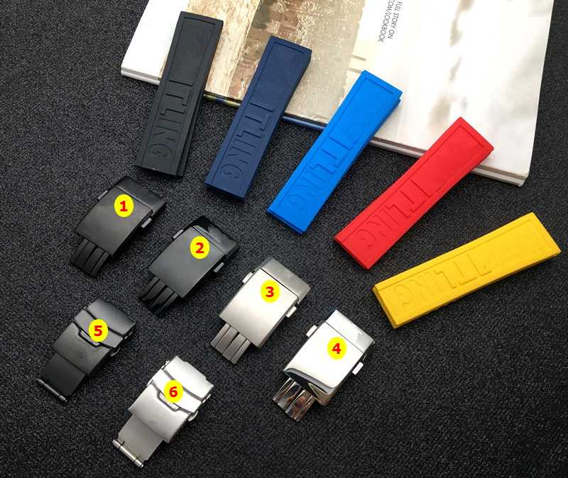 Luxury brand soft nature Silicone Rubber Watch band 22mm 24mm Watchband Bracelet For navitimer/avenger/Breitling strap tools