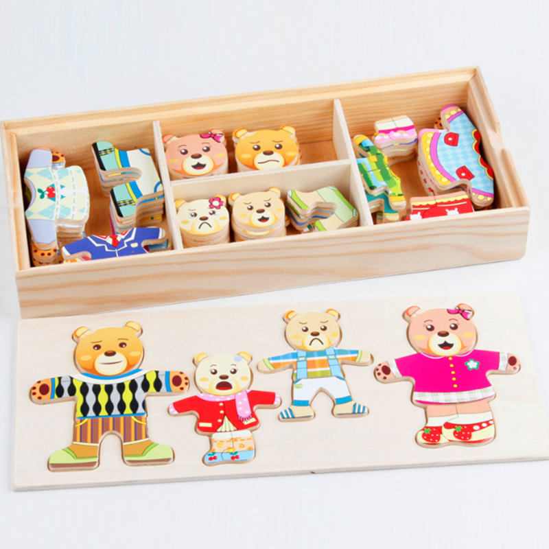 72pcs Cartoon Rabbit Bear Dress Changing Jigsaw Puzzle Wooden Toy Montessori Educational Change Clothes Toys For Children 6