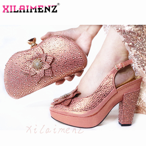 Image 2 - Latest Italian Spring Sandals Shoes And Bag To Match Set For Party Fashion Rhinestone Pumps Shoes And Bag Set in Wine