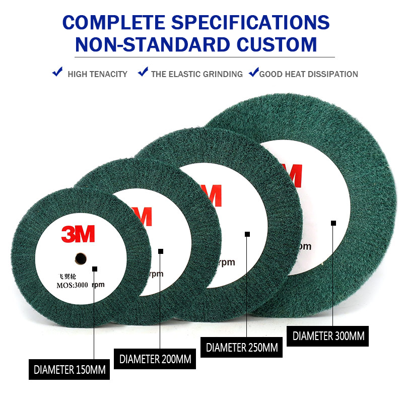 100mm/200mm/300mm Non-woven Scouring Pad Grinding Wheel Flap Mop Polishing Wheel Disc 180Grit Thick 1Pc
