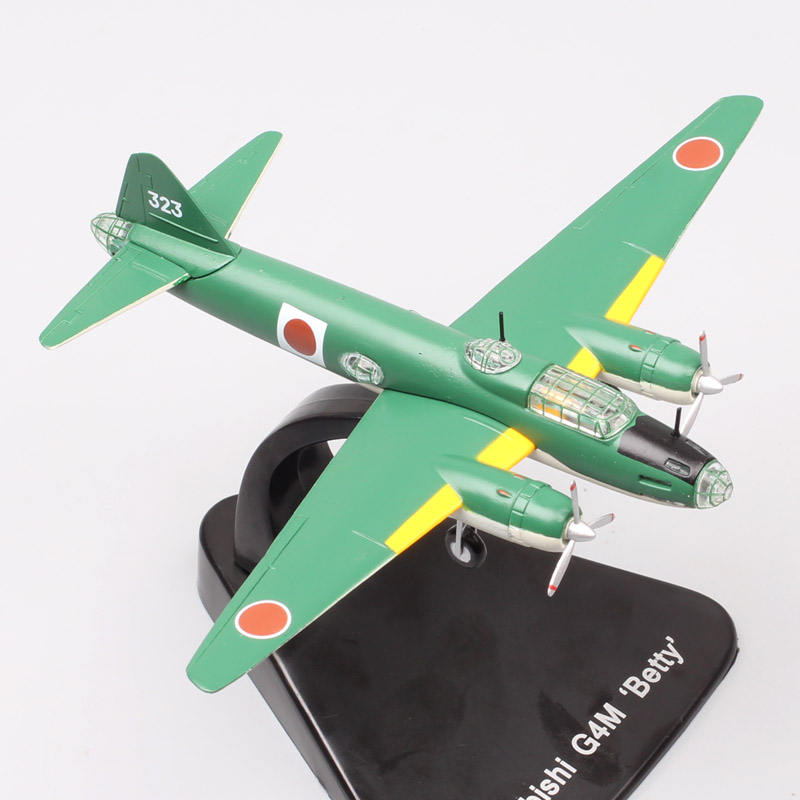 1:144 Scale ATLAS Mitsubishi G4M betty Military japanses Aircraft navy plane Airplane metal fighter diecast model Toys collector image