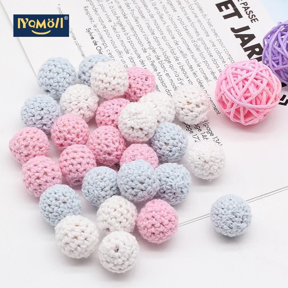 20pc/lot Crochet Round Wooden Beads Mix Color Handmade 15mm Ball Chew DIY Nursing Jewelry Organic Teething Pacifier Chain Beads