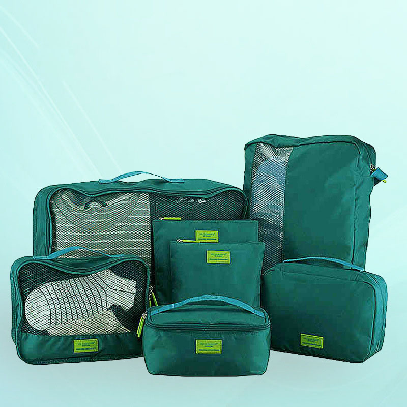 Nylon Packing Cube Travel Bag System Durable 7 Pieces Set Large Capacity Of Bags Unisex Clothing Sorting Organize Wholesale
