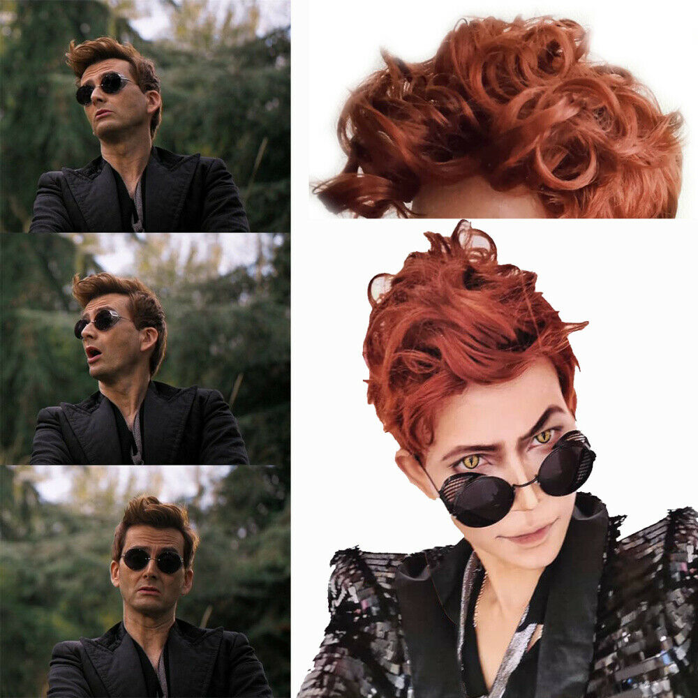 Good Omens Crowley Wig Demon Brown Short Curly Hair Long Synthetic Resistant Heat Hair Wigs For Men Women