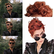 Good Omens Crowley Wig Demon Brown Short Curly Hair Long Synthetic Resistant Hea