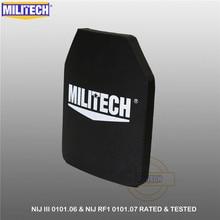 "MILITECH מחשב אחד NIJ III + 0101.06/NIJ 0101.07 RF1 טהור PE 10 ""x 12"" בליסטי גוף פנל AK47 Stand לבד Bulletproof UHMWPE צלחת"