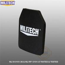 """MILITECH bir Pc NIJ III + 0101.06/NIJ 0101.07 RF1 saf PE 10 """"x 12"""" balistik vücut panel AK47 tek başına kurşun geçirmez UHMWPE levha"""