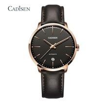 Cadisen Sapphire Crystal Mannen Horloges Automatische Mechanische Horloge Miyota 8215 Klok Lederen Casual Retro Horloge Relojes Hombre