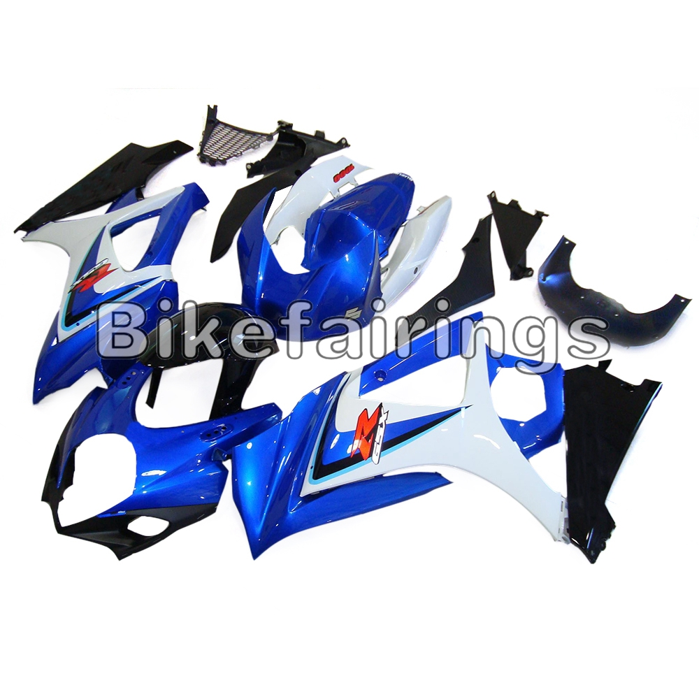 White Blue Pieces with Black Lowers Sportbike Body Frames For <font><b>Suzuki</b></font> <font><b>GSXR1000</b></font> <font><b>K7</b></font> 2007 2008 ABS Injection 07 08 Fairing Kit image