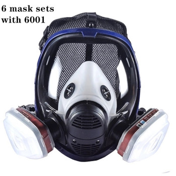 Masque à gaz peinture complète | Respirateur 6800 avec cartouche filtrante à charbon, masque de protection complet 6800
