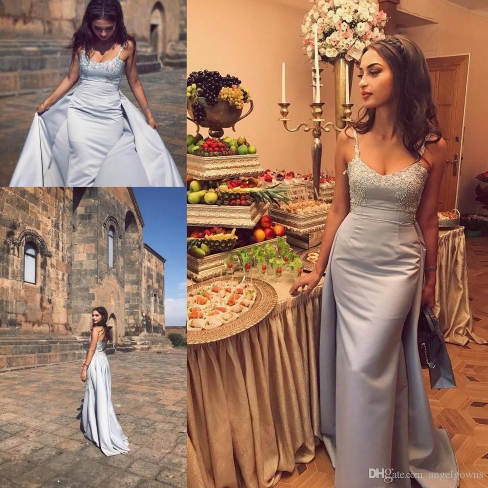Купить с кэшбэком Graceful Light Sky Blue Over skirt Evening dresses Appliques Lace Spaghetti Straps Mermaid Prom Party Gown Pageant evening Dress