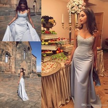 Graceful Light Sky Blue Over skirt Evening dresses Appliques Lace Spaghetti Straps Mermaid Prom Party Gown Pageant evening Dress