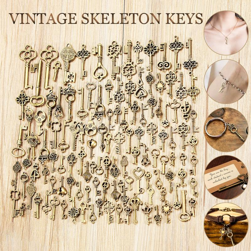 125Pcs Bronze Keys Vintage Royal Antique Old Look Skeleton Heart Bow Pendant
