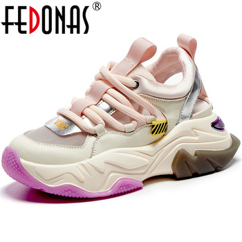FEDONAS 2020 Summer Cross Tied Genuien Leather Shoes Women Sneakers Popular Patchwork Platforms Shoes Running Sport Shoes Woman