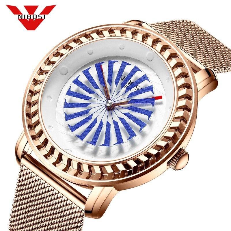 NIBOSI montre de mode hommes Unique cadran mouvement étanche maille bracelet montres pour hommes Quartz sport montre Relogio Masculino