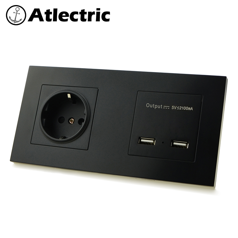 Atlectric EU Standard Plug Double Socket Dual USB Charging Port Power Wall Socket Plastic Panel Electrical Outlet
