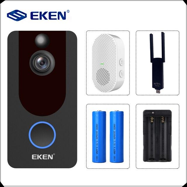 EKEN V7 1080P חכם WiFi וידאו פעמון מצלמה חזותי אינטרקום עם פעמון IP דלת פעמון אלחוטי אבטחת בית מצלמה
