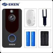 EKEN V7 1080P akıllı WiFi Video kapı zili kamera görsel interkom Chime ile IP kapı zili kablosuz ev güvenlik kamerası