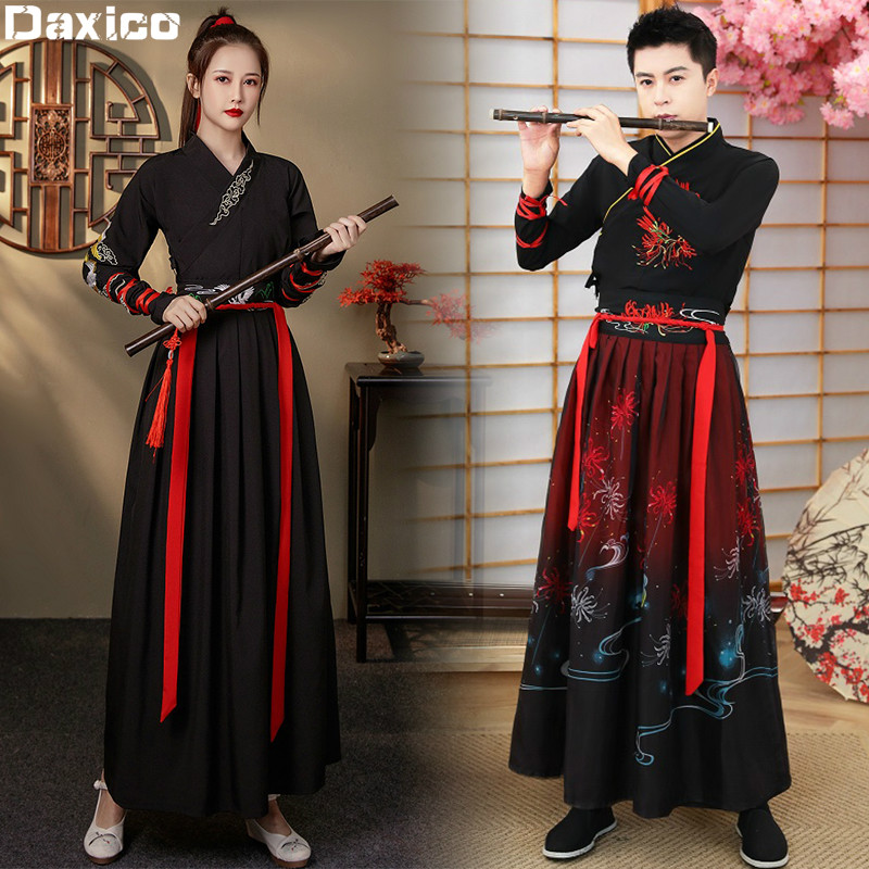 PLUS SIZE Traditional Hanfu Woman Ancient Swordsman Folk Dance Outfit Vestido Oriental Chinese Martial-Arts Cosplay Costume