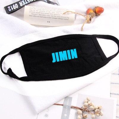 Hip Hop Luminous Letters Mouth Face Mask Dustproof  Kpop V Suga Jimin Name  Bangtan Boys Black Masks Fans Gift Night Light 2